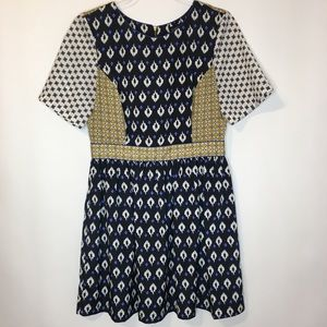 Topshop Geometric Print Block Fit and Flare Dress